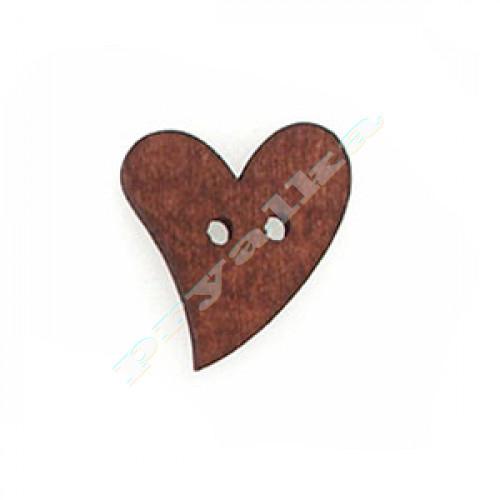 """Пуговица деревянная """"Сердце асимметричное"""" коричневое"""
