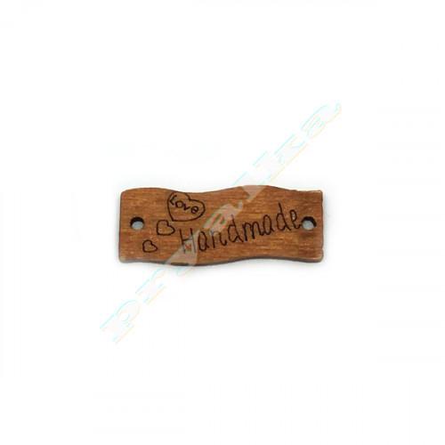 """Нашивка деревянная """"HM"""" коричневая изогнутая"""